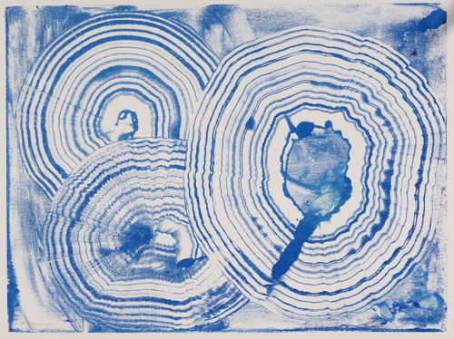 Blue agates, Ink Monotype, Artist's collection