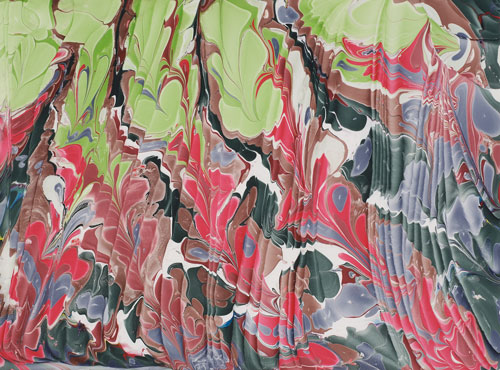 Red & Green curtains, Marbled paper, Artist's collection